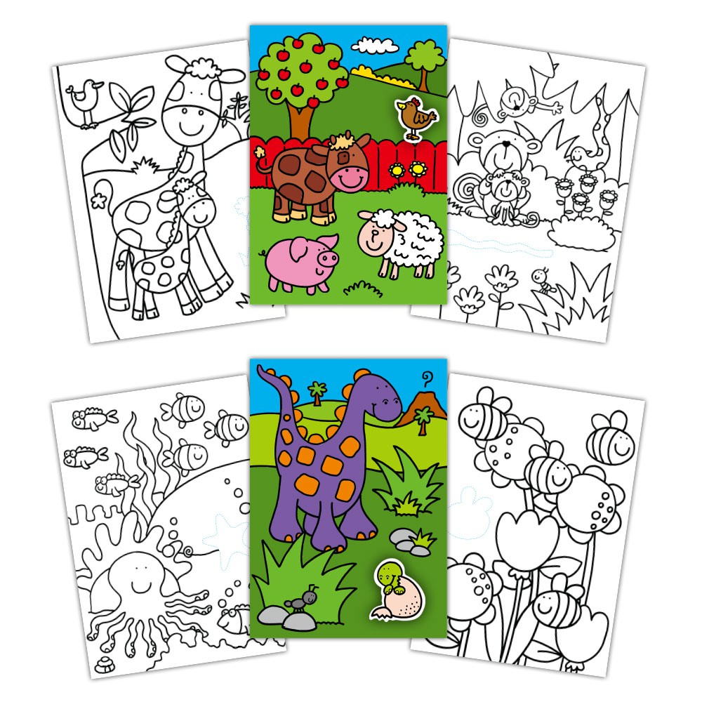 Sticker Colouring Book